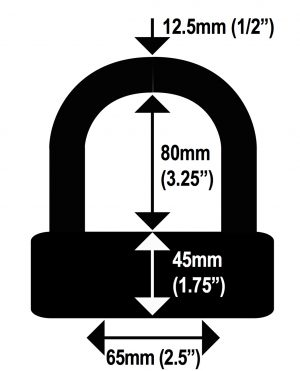 U Shackle Dimensions Diagram